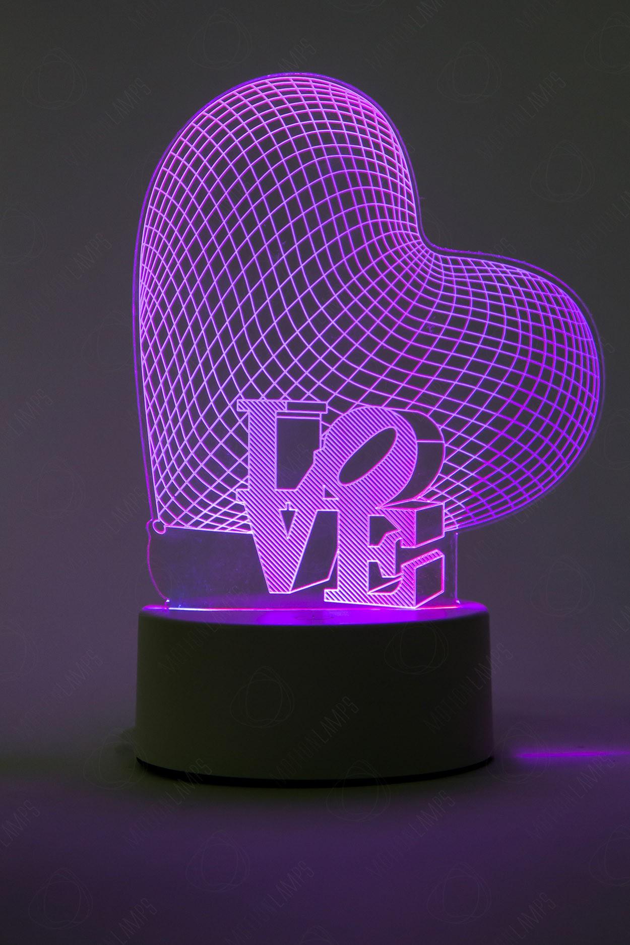 3D светильник Сердце 3 цвета в Москве