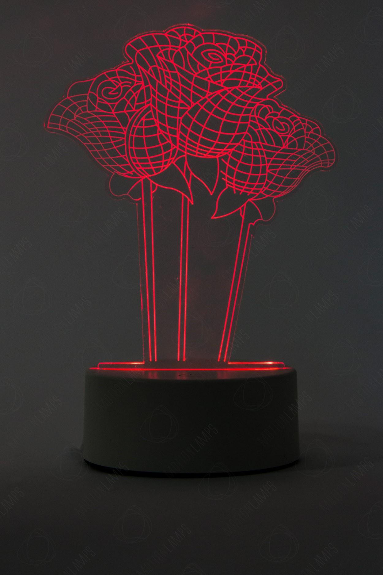 3D светильник Розы 3 шт 3 цвета в Москве