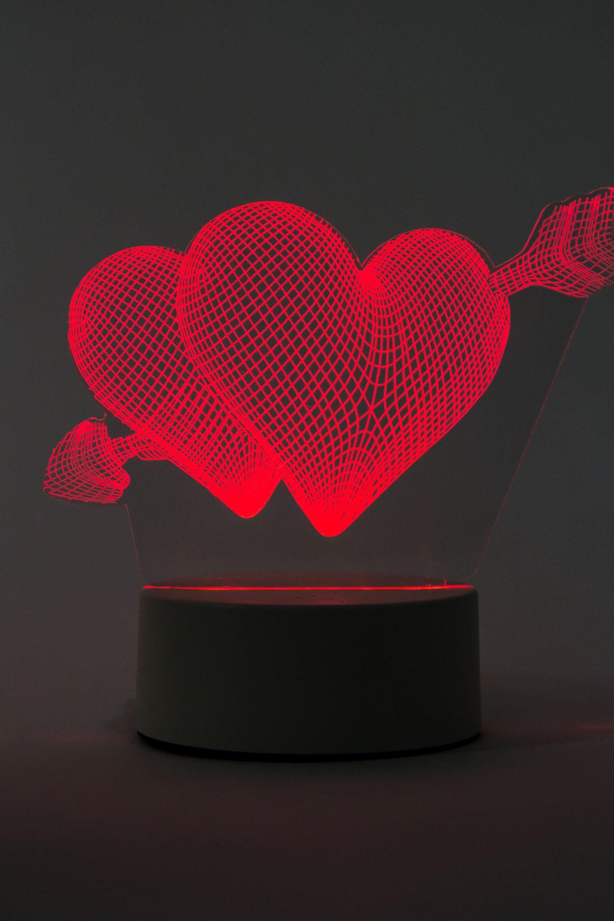 3D светодиодная лампа Сердце со стрелой 3 цвета в Москве