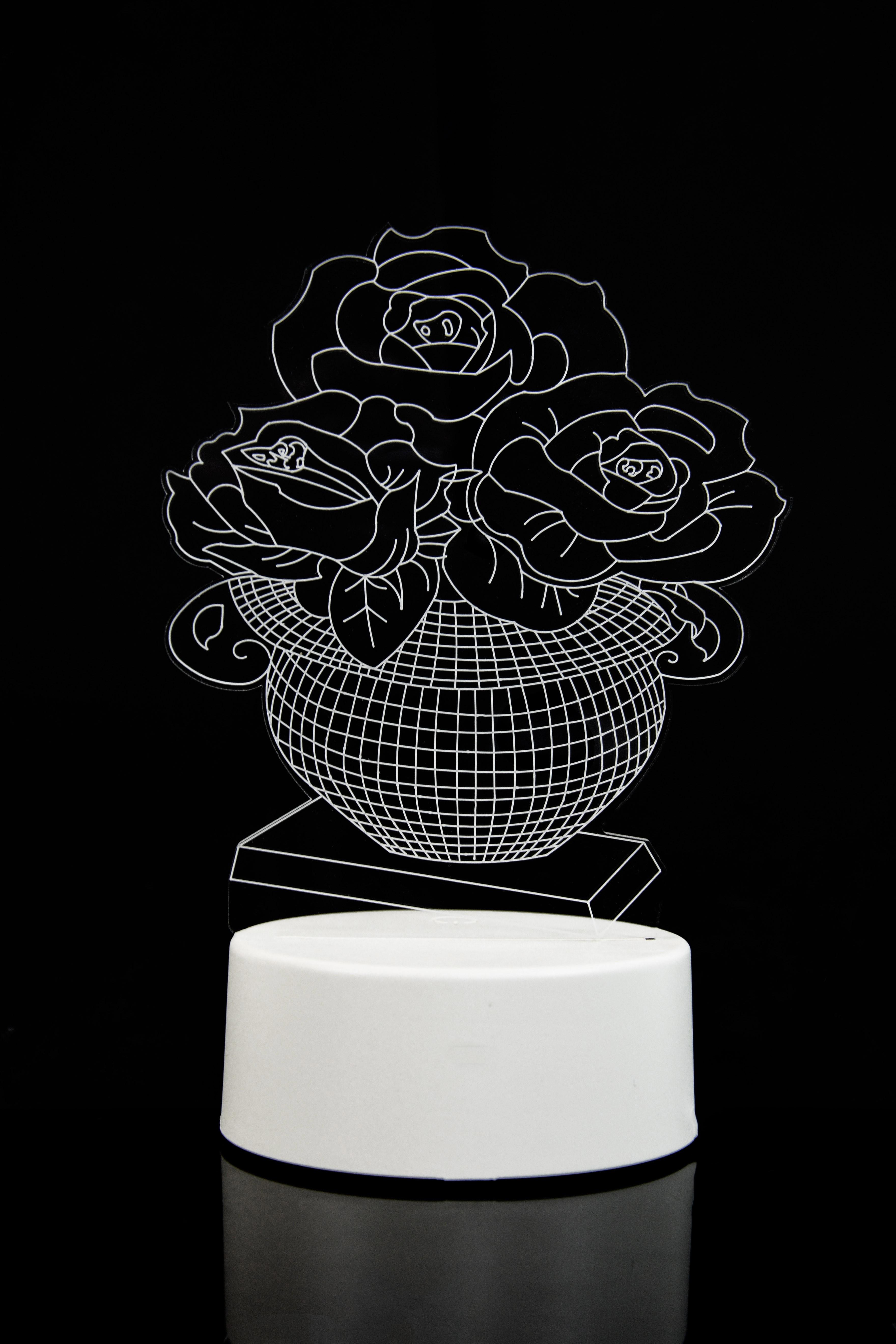 3D светильник Розы в вазе 3 цвета в Москве