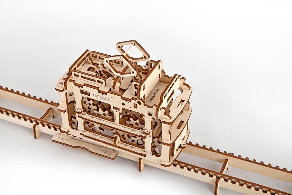 Конструктор 3D-пазл Ugears - Трамвай с рельсами в Москве