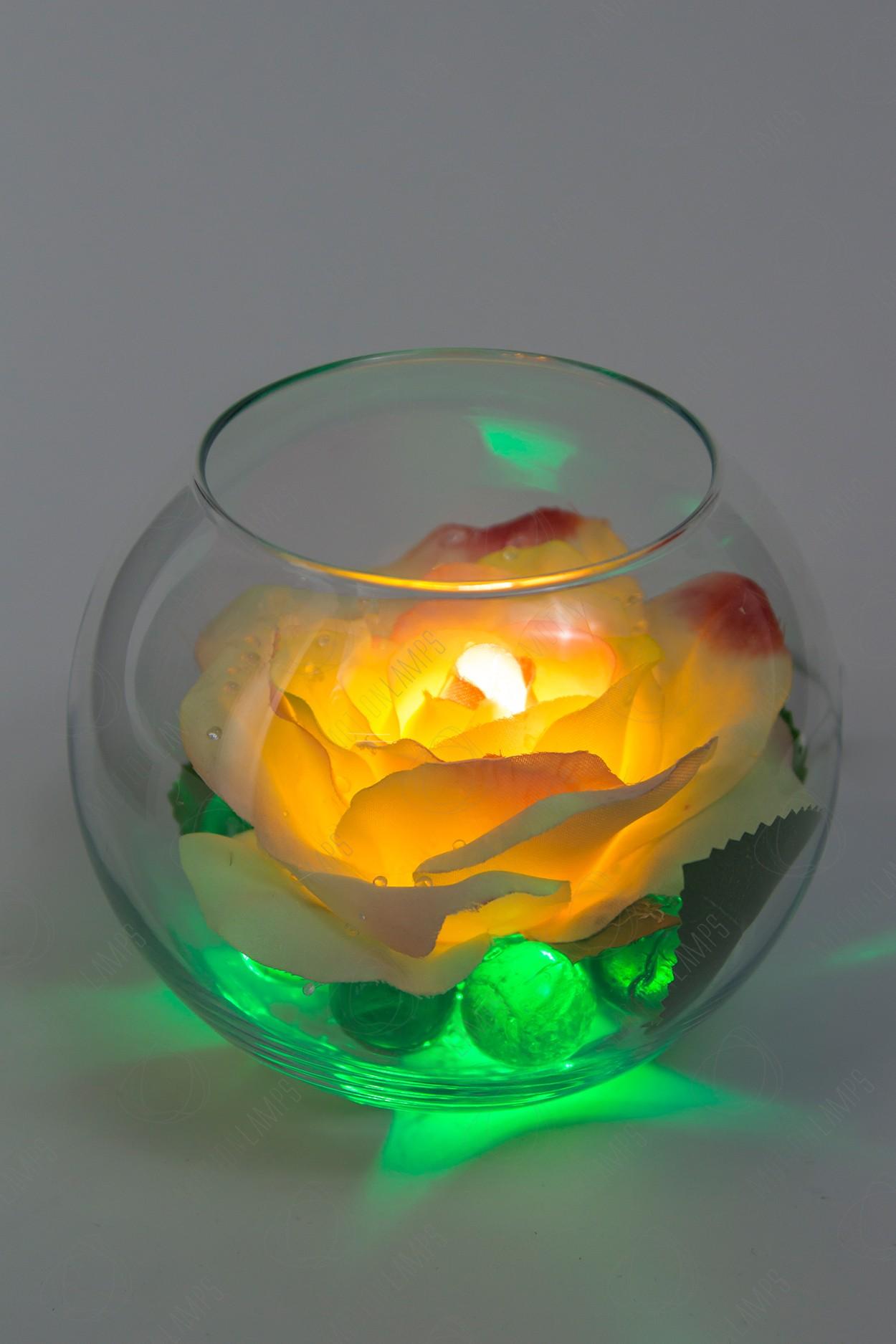 Светящийся цветок Роза в шаре Кремовая в Москве