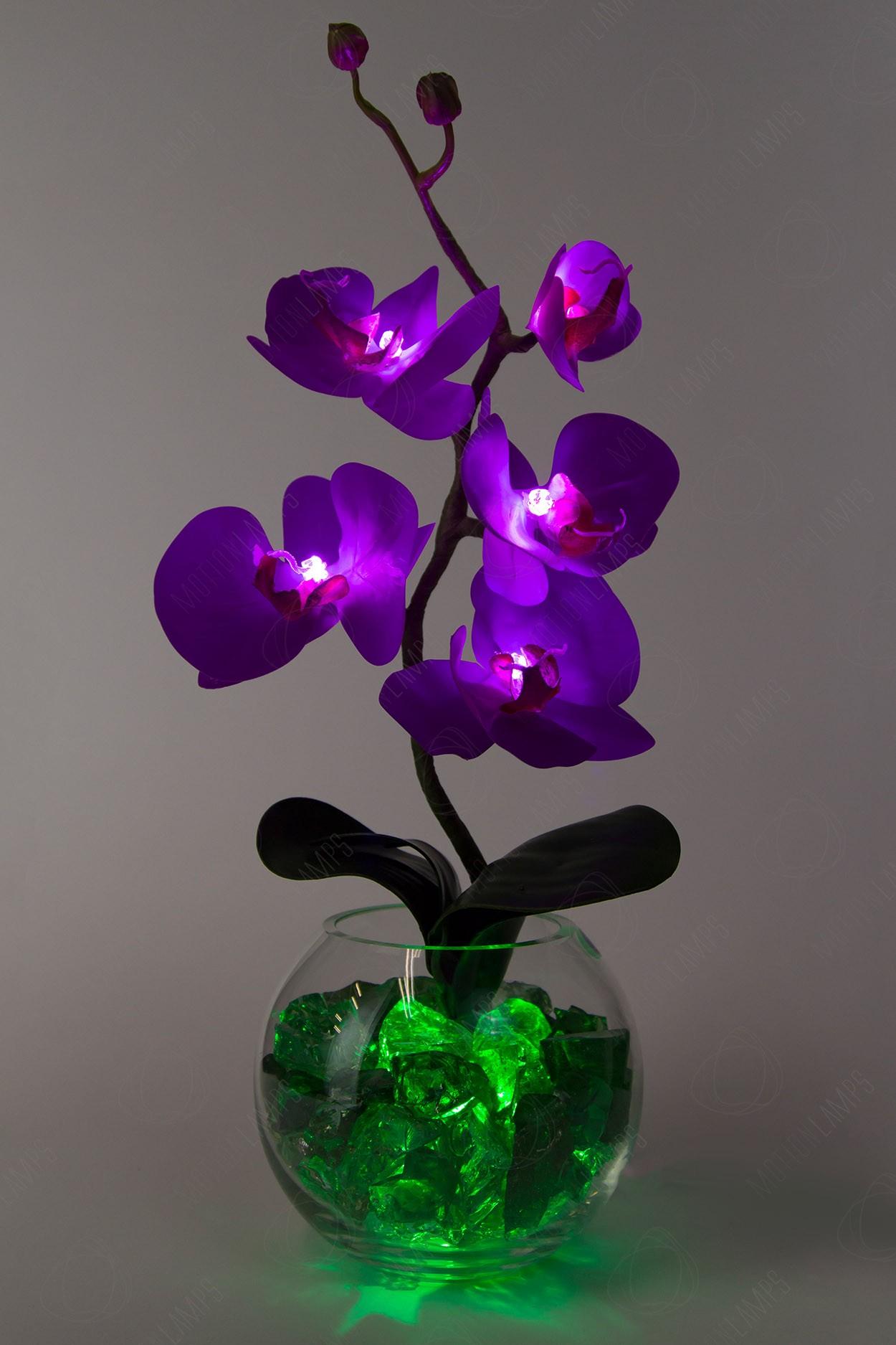 Светильник Орхидея фиолетовый(зел) 5 цветков в Москве