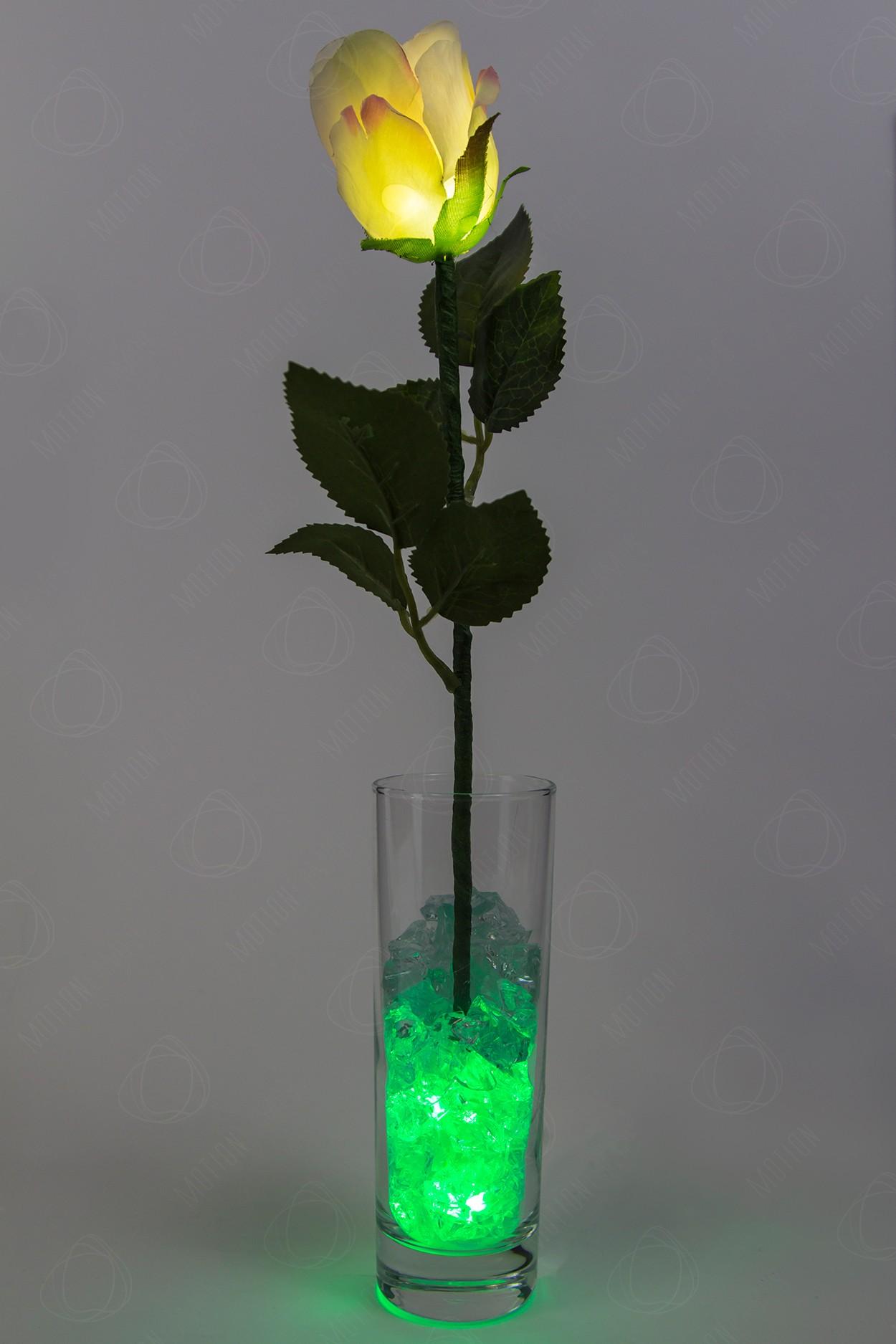 Ночник Роза Кремовая с зелёной подсветкой в Москве