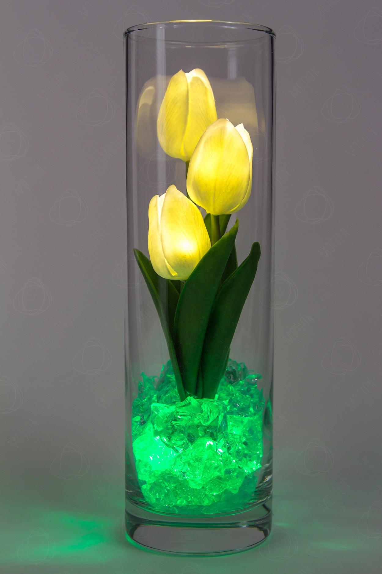 Ночник тюльпаны 3шт Белые(зел) в Москве