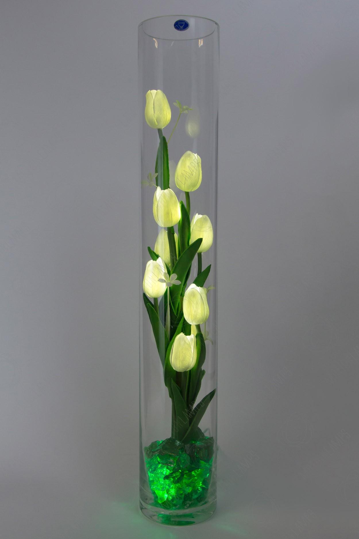 Светящиеся тюльпаны 9шт Белые(зел) в Москве