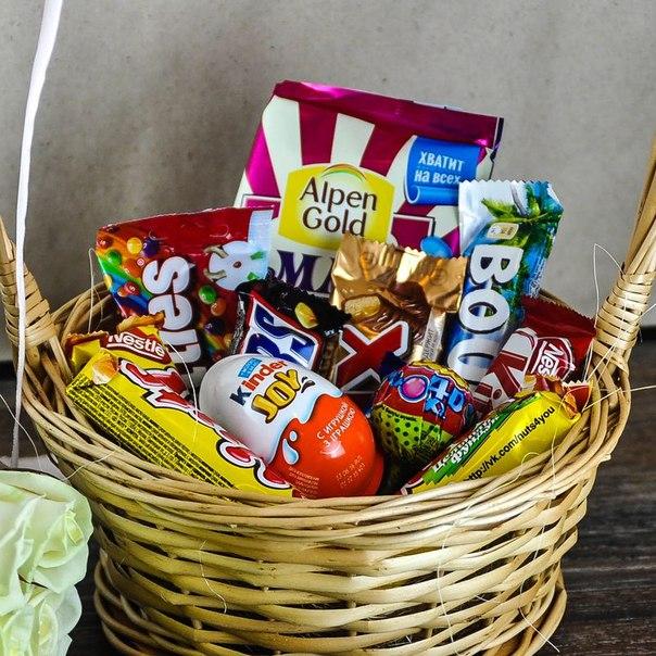 Корзина сладостей «Шоколадный подарок» в Москве