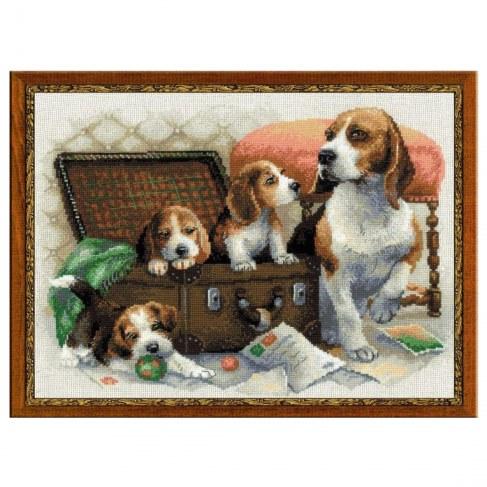 Набор Riolis Premium для вышивания Собачье семейство 1328 в Москве