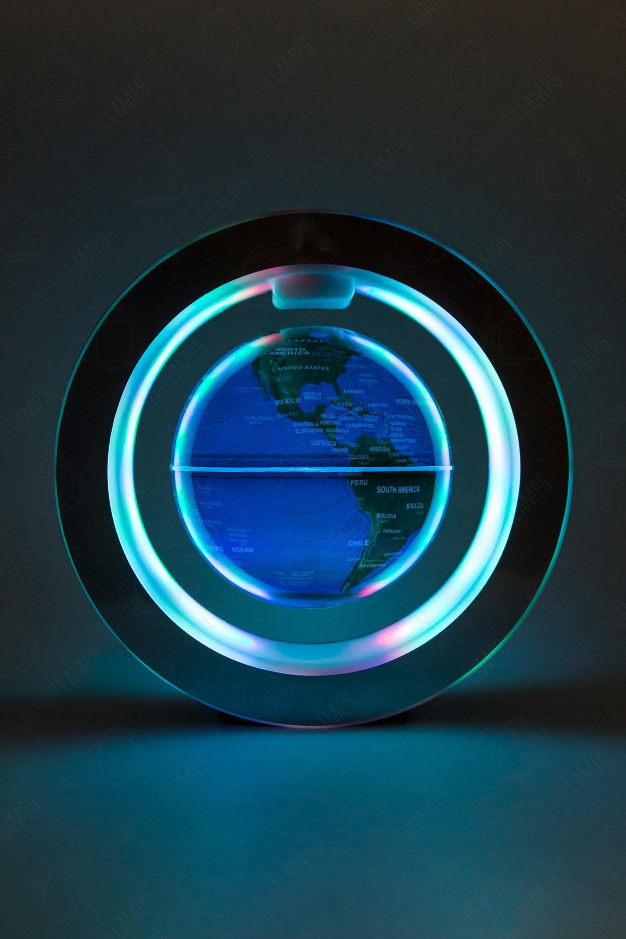 Левитирующий Светящийся глобус в круглой рамке (синий) (D-10cм) в Москве